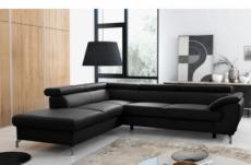 - canapé d'angle convertible en cuir italien de luxe 7/8 places finlande avec coffre, noir, angle gauche