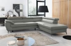 canapé d'angle convertible en cuir italien de luxe 7/8 places finlande avec coffre, gris clair, angle droit