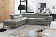 - canapé d'angle convertible en cuir italien de luxe 5/6 places finlande avec coffre, gris clair, angle gauche