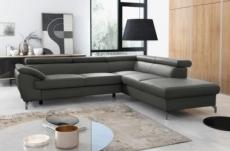 canapé d'angle convertible en cuir italien de luxe 5/6 places finlande avec coffre, gris foncé, angle droit