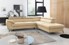 canapé d'angle convertible en cuir italien de luxe 7/8 places finlande avec coffre, beige, angle droit
