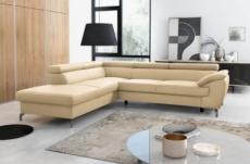 - canapé d'angle convertible en cuir italien de luxe 5/6 places finlande avec coffre, beige, angle gauche