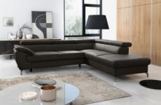canapé d'angle convertible en cuir italien de luxe 7/8 places finlande avec coffre, chocolat, angle droit