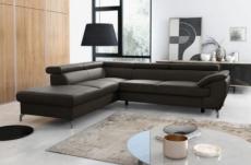 - canapé d'angle convertible en cuir italien de luxe 5/6 places finlande avec coffre, chocolat, angle gauche