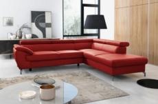 canapé d'angle convertible en cuir italien de luxe 7/8 places finlande avec coffre, rouge foncé, angle droit