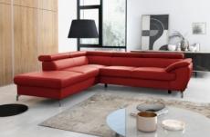 canapé d'angle convertible en cuir italien de luxe 5/6 places finlande avec coffre, rouge foncé, angle gauche