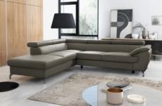 canapé d'angle convertible en cuir italien de luxe 7/8 places finlande avec coffre, taupe, angle gauche