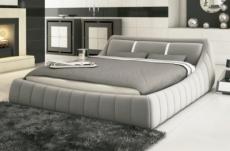 lit en cuir italien de luxe foster, gris clair, 160x200