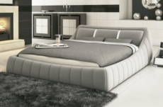 lit en cuir italien de luxe foster, gris clair