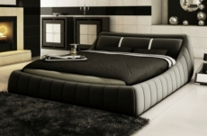 lit en cuir italien de luxe foster, gris foncé