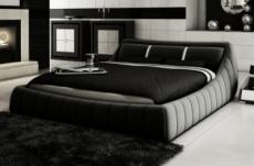 lit en cuir italien de luxe foster, noir avec 2 bandes blanches