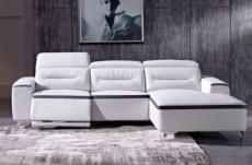 canapé d'angle relax en cuir de buffle italien de luxe funrelax , blanc et noir, angle droit