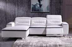canapé d'angle relax en cuir buffle italien de luxe funrelax, blanc et noir, angle gauche.