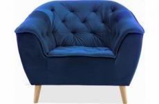 fauteuil 1 place gallery en tissu de qualité, couleur bleu