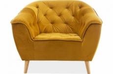 fauteuil 1 place gallery en tissu de qualité, couleur curry