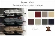canapé d'angle en cuir buffle italien 5/6 places geneve, table offerte, couleur personnalisée, angle droit