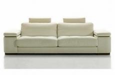 canapé 3 places en cuir italien maison blanche, écru