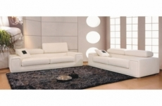 ensemble geneva 2 pièces: canapé 3 places + 2 places en cuir luxe italien vachette, blanc