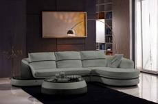 canapé d'angle en cuir buffle italien 5/6 places geneve, table offerte, gris clair et gris foncé, angle droit