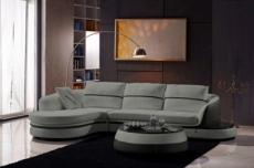 canapé d'angle cuir buffle italien 5/6 places geneve, table offerte, gris clair et gris foncé, angle gauche