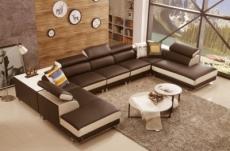 canapé d'angle en cuir buffle italien de luxe 8/9 places giant, chocolat et beige