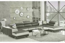 canapé d'angle en cuir buffle italien de luxe 8/9 places giant, gris foncé et blanc