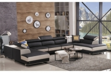 canapé d'angle en cuir buffle italien de luxe 8/9 places giant, noir et blanc