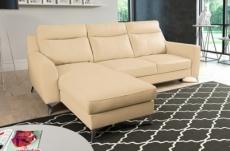canapé d'angle convertible en cuir italien de luxe 5/6 places gianni avec coffre, beige, angle gauche