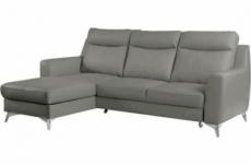 canapé d'angle convertible en cuir italien de luxe 5/6 places gianni avec coffre, gris clair, angle gauche