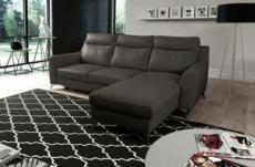 canapé d'angle convertible en cuir italien de luxe 5/6 places gianni avec coffre, gris foncé, angle droit