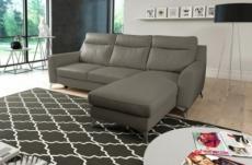 canapé d'angle convertible en cuir italien de luxe 5/6 places gianni avec coffre, taupe, angle droit