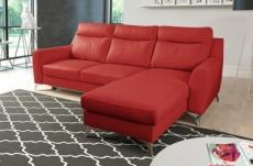 canapé d'angle convertible en cuir italien de luxe 5/6 places gianni avec coffre, rouge foncé, angle droit