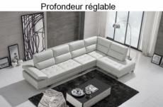 canapé d'angle en cuir de buffle italien de luxe 6/7 places giovani, blanc, angle droit