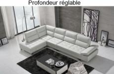 canapé d'angle en cuir de buffle italien de luxe 6/7 places giovani, blanc, angle gauche