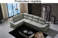 canapé d'angle en cuir de buffle italien de luxe 6/7 places, giovani, gris clair, angle gauche