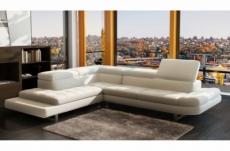 canapé d'angle en cuir italien 5/6 places grand city, blanc