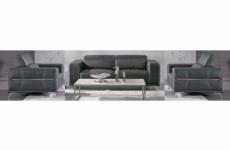 ensemble canapé 3 places et 2 fauteuils 1 place en cuir italien buffle vega, gris foncé avec surpiqure gris clair
