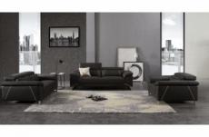 ensemble ensemble canapé 3 places et 2 places et fauteuil en cuir italien buffle granti, couleur noir et liseret blanc