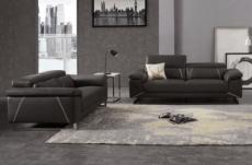 ensemble canapé 3 places et 2 places en cuir prestige italien buffle granti, couleur noir et liseré blanc