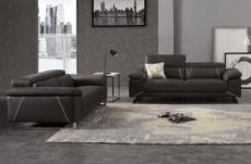 ensemble ensemble canapé 3 places et 2 places en cuir prestige italien buffle granti, couleur noir et liseré blanc