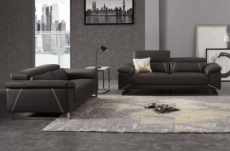 ensemble ensemble canapé 3 places et 2 places en cuir italien buffle granti, couleur noir et liseret blanc