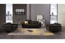 ensemble ensemble canapé 3 places et 2 places et fauteuil en cuir italien buffle granti, couleur chocolat et liseret beige