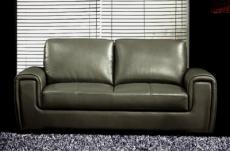 canapé 2 places en cuir italien buffle grimaldi, gris foncé