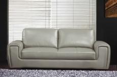 canapé 3 places en cuir italien buffle grimaldi, gris clair