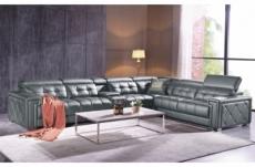 canapé d'angle en cuir de buffle italien de luxe, 6/7 places, prestigia, gris foncé, angle droit