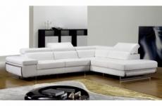 canapé d'angle, en cuir italien 5/6 places guci, blanc, angle droit