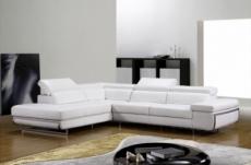canapé d'angle en cuir italien 5/6 places guci, blanc, angle gauche