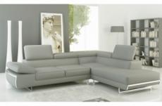 canapé d'angle en cuir italien 5/6 places varga, gris clair pastel