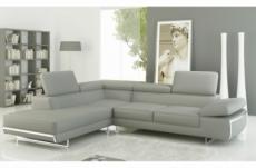 - canapé d'angle en cuir italien 5/6 places varga, gris clair pastel