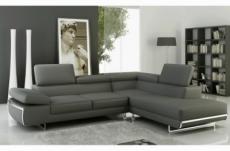 canapé d'angle, en cuir italien 5/6 places guci, gris foncé, angle droit